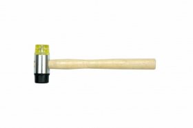 Two way mallet with wooden handle